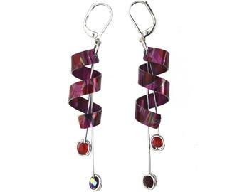 Anodized aluminum sheet and wire earrings with beads, unique and original, red
