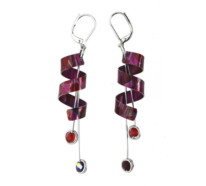 Anodized aluminum sheet and wire earrings with beads unique image 0