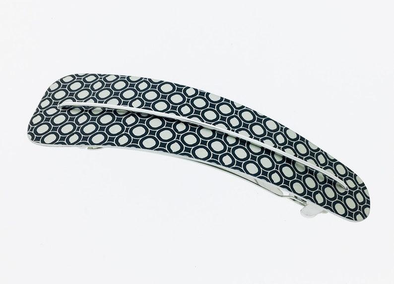 Unique black / white anodized aluminum hair clip ligth image 0