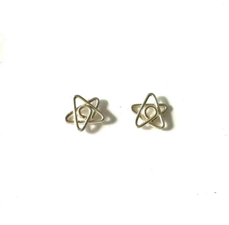 Sterling silver small star studs earrings image 0