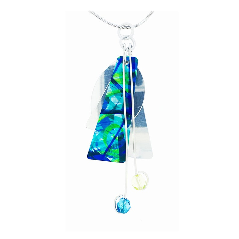 Anodized aluminum sheet and wire necklace with crystal beads image 0