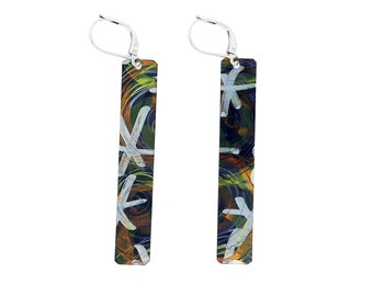Beige and gold / Black and grey long rectangular reversible earrings, steel french hooks, hand painted on anodized aluminum, Montreal