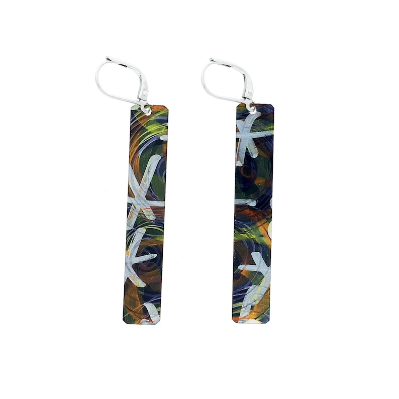 Black and grey long rectangular reversible earrings steel image 0