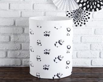 Toy's basket with pandas, Round Nursery basket, laundry basket, toy storage, toy basket, Storage bin, Laundry hamper, Nursery Storage