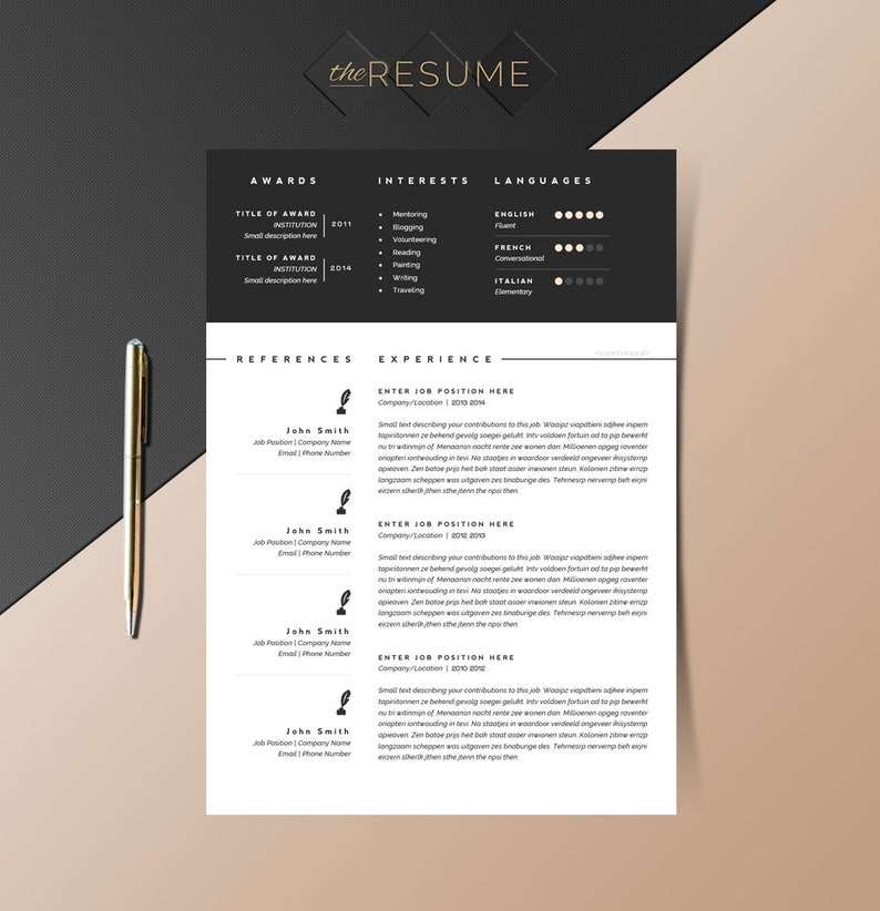 3 Page Resume Template Cover Letter And References Template Etsy