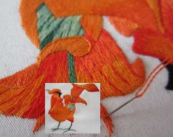 KIT Hand embroidery :Coq arum