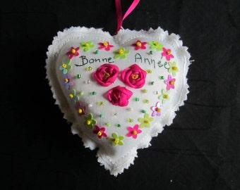 Kit de broderie aux rubans et perles,  Bonne année aux roses