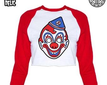 Clown Mask - Women's Raglan Crop Top