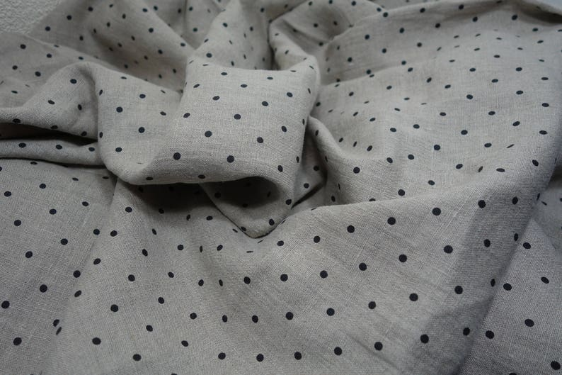 Softened linen fabric by the meter undyed prewashed stonewashed black dots linen fabric by the yard 190 gsm organic flax fabric polka dot