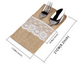100pcs lot Burlap Cutlery Holder Vintage Shabby Chic Jute Lace Tableware Pouch Packaging Fork Knife Pocket Home Textiles