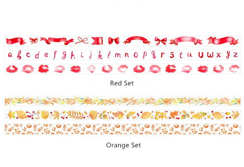 Craft Orange Red Set of 3 The Color of the World Washi Tape Series Decoration Scrapbooking Planner Journal