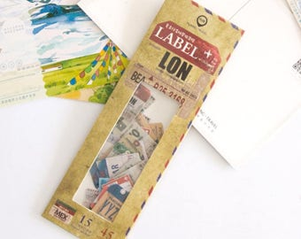 45 Pieces of Luggage Label Stickers