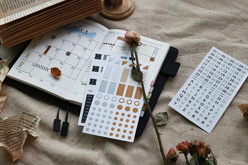 a72ee04fdd21a Set of 3 Basic Diary Stickers - Planner, Journal, Craft, Scrapbooking,  Decoration