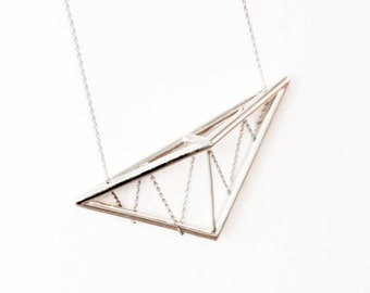 Silver Geometric Necklace | Geometric Jewelry | Pitched Truss Pendant Necklace