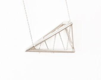 Silver Geometric Necklace | Geometric Jewelry | Sawtooth Truss Pendant Necklace