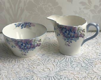 Shelley Blue Spray Milk Jug & Sugar Bowl