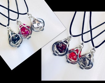 Chainmaille Captured D20 Die Necklace
