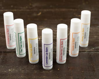 Lavender Lip Balm, Tea Tree Lip Balm, Vanilla Lip Balm, Strawberry Lip Balm, Honey Lip Balm, Citrus Lip Balm, Mixed Berries Lip Balm