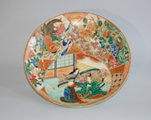 Decorative charger, scene from The Tale of Genji, rooster, flowers, Kutani ware, Japan
