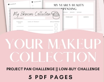 Budget Tracker Project Pan Challenge  Makeup and beauty collection planner printable & fillable PDF
