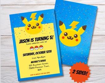 Pokèmon Pikachu Custom Birthday Invitation, Printable Invitation,  kids party invitation, birthday printable invitation
