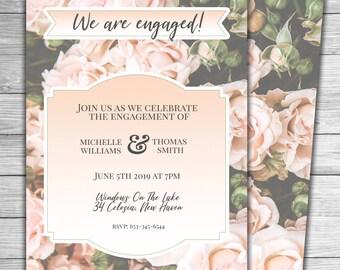 Vintage Romantic Roses Pastels Custom Printable Engagement Party Invitation