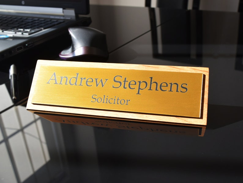 Solid Oak Stylish Personalised Desk Name Plate, Custom Engraved Sign,  Office Plaque - Gold Polished
