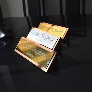 Solid Oak Stylish Personalised Desk Name Plate, Custom