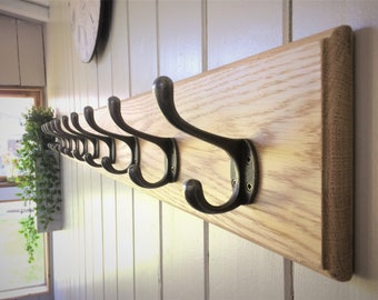 Home Organization In 5 Sizes Solid Oak Wooden Cast Iron Antique Hat And Coat Hooks Rail Rack Beautiful And Charming