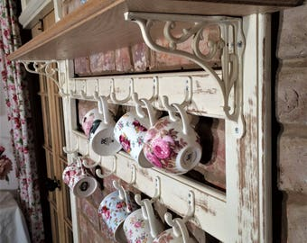 Wooden Oak Cup Rack With Shelf Country Home
