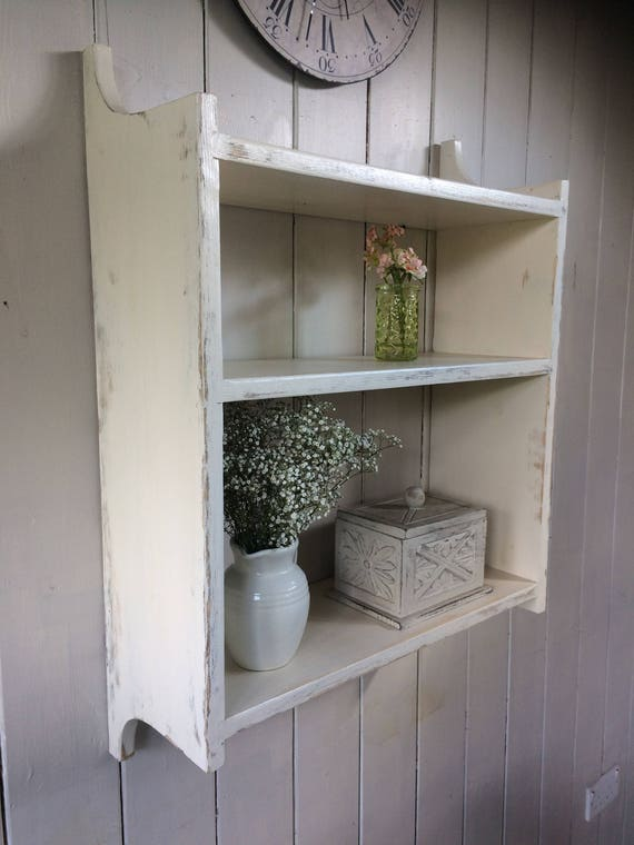 SHABBY CHIC 3 SHELF SOLID PINE COUNTRY COTTAGE WALL SHELF