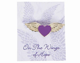 3911649e4b037 On the wings of hope pin helps open the conversation about domestic  violence. It gives survivors a voice to break their silence.