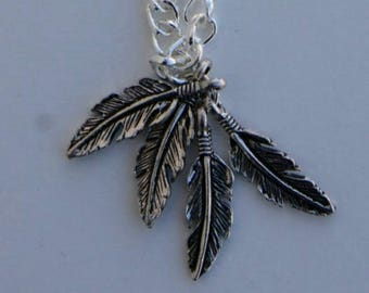 Silver Bracelet with Feather Charms