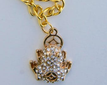 Gold Frog Charm Necklace