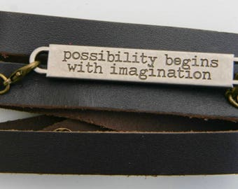 Leather Bracelet with Inscribed Saying