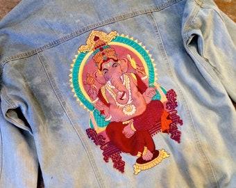 Lord Ganesha Denim Jacket