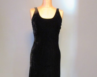 1980s Betsey Johnson Long Black Velvet Dress