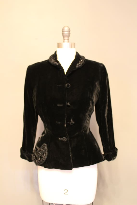 1940s New Look - Silk Velvet Beaded Evening Jacket