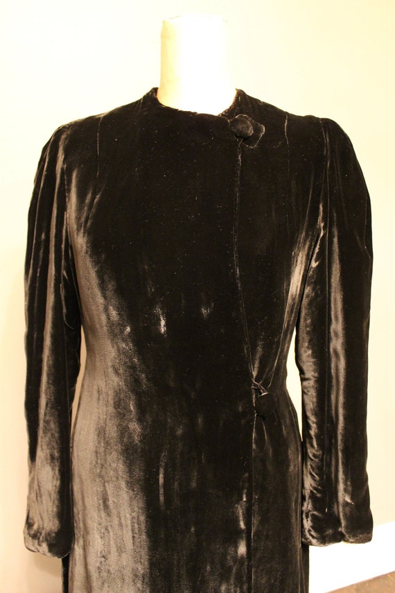 1930s Black Silk Velvet Maxi Coat - image 1