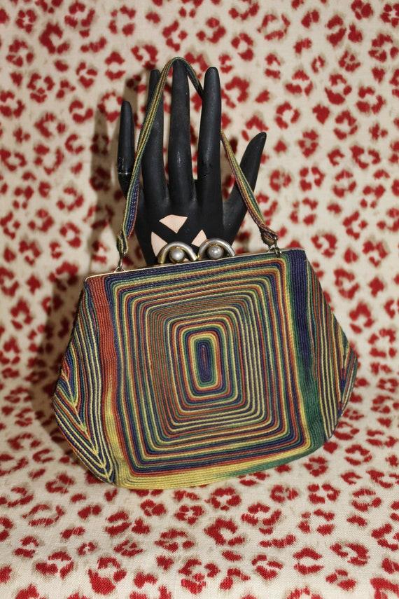 Ultra RARE Rainbow Corde' Bag - Vintage 1940s Ladi
