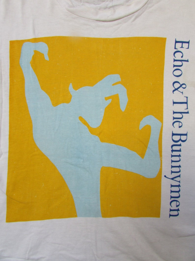 Echo and the Bunnymen T Shirt Vintage 90s size XL Psychedelic Blue Tie Dye Concert Band Tour Cotton Grunge Trippy Ian Mcculloch Mohawk Music