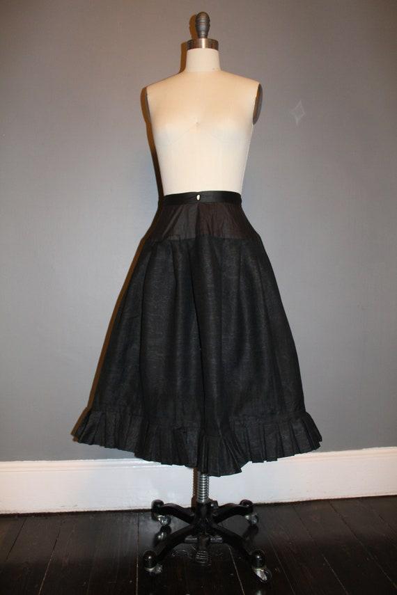 Victorian Black Moire Pleated Short Skirt 1800s