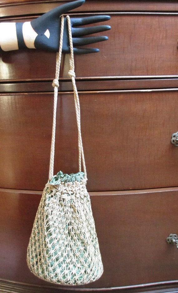 Vintage 1920s Drawstring Purse Crochet Bag
