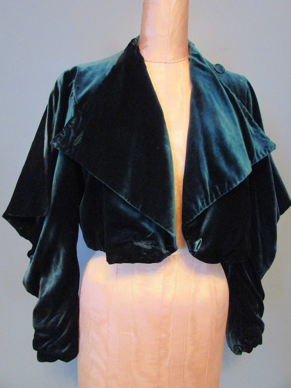 1930s Emerald Green Silk Velvet Jacket