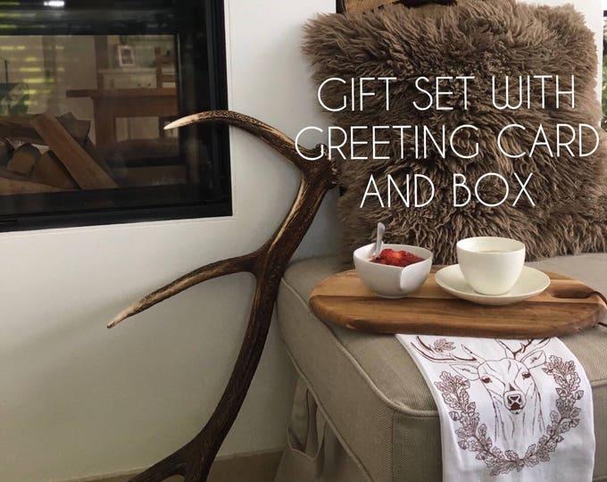 Deer With Acorns Table Napkins, Tea Towel And Greeting Card - Gift Set