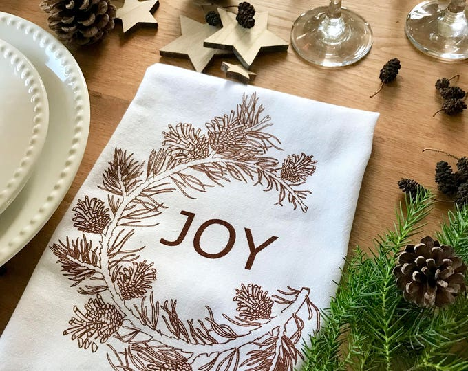 Pine tree branch - Set 4 Cotton Christmas Napkins