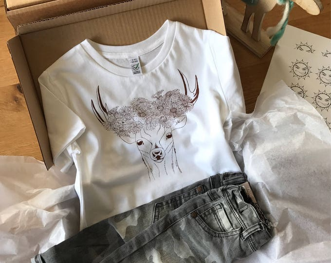 Deer With Flower Crown - Organic Toddler T-shirt
