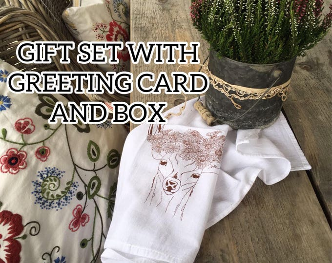 Deer With Flowers Crown Table Napkins, Tea Towel And Greeting Card - Gift Set