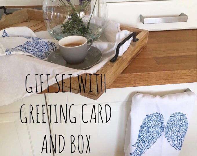 Angel's Wings Table Napkins, Tea Towel And Greeting Card - Gift Set