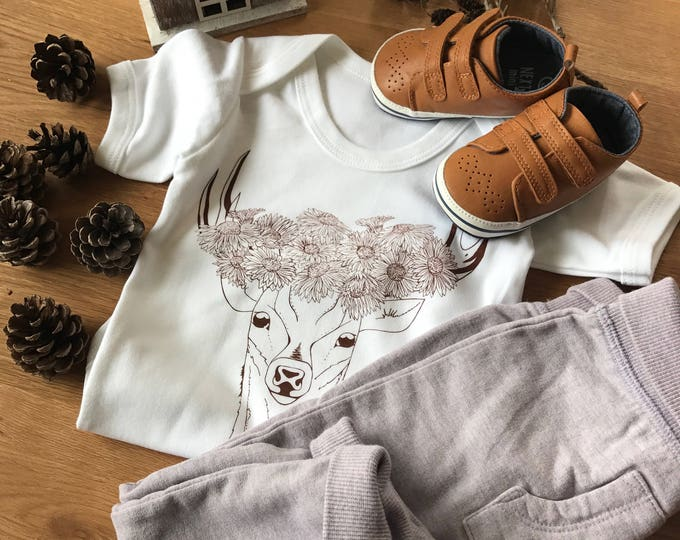 Deer With Flower Crown - Organic Baby Bodysuit